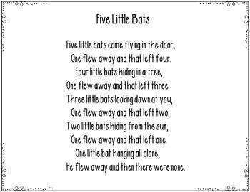 Five Little Bats ( Pocket Chart Activity)