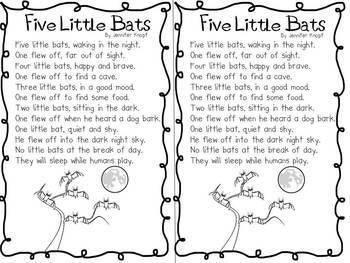 Five Little Bats Poem Pack!