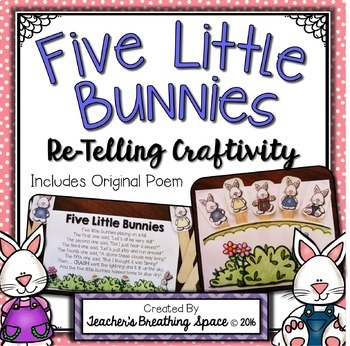 Five Little Bunnies --- Re-Telling Craftivity and Poem