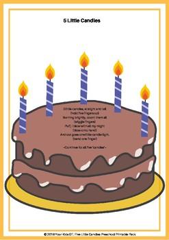 Five Little Candles Preschool Printable Pack