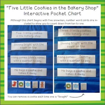 """Five Little Cookies in the Bakery Shop"" Interactive Pocket Chart"