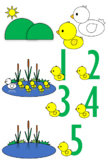 Five Little Ducks Clipart Set