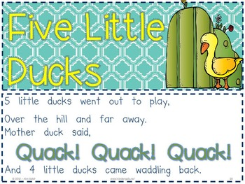 Sight Word Reader and Interactive Chart: Five Little Ducks