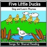 5 Little Ducks Song | Shared Reading | Pocket Chart Poetry | Fingerplay Rhyme