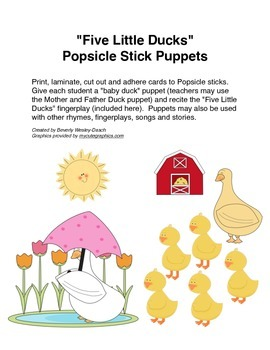 """Five Little Ducks"" Popsicle Stick Puppets"