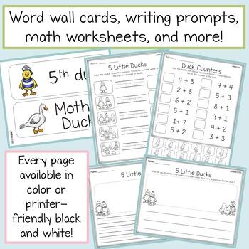 Five Little Ducks - STEM & ELA Activities, Retell Crafts, Writing, Math, & more!