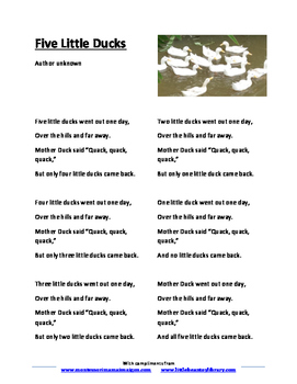Five Little Ducks Song Lyrics