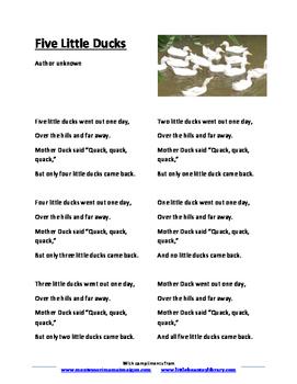 Five Little Ducks Song Lyrics