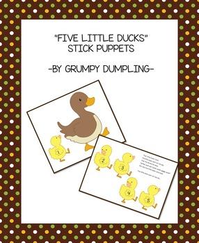 Five Little Ducks Stick Puppets