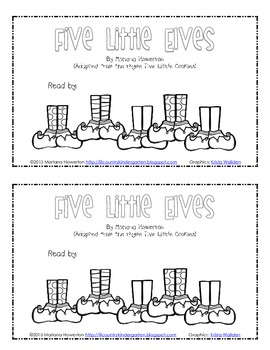 Five Little Elves Poem, Finger Puppets and Subtraction Reader Christmas ELA Math