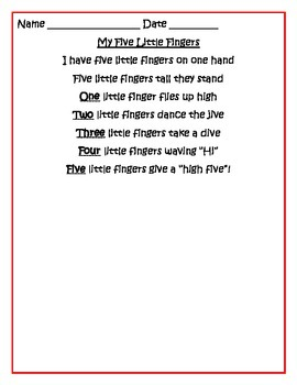 Five Little Fingers: a Counting Up Song  with Motions