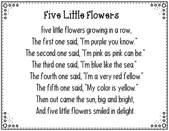 Five Little Flowers Pocket Chart Activity By Judy