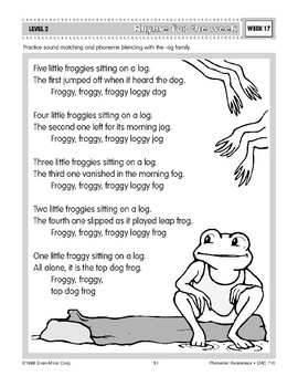 Five Little Froggies (Parts of a Word)