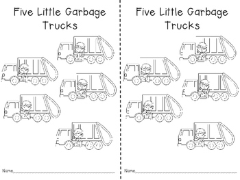 Five Little Garbage Trucks Activities