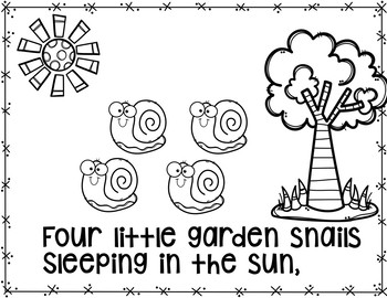 Five Little Garden Snails  (A Counting Pocket Chart Activity with Student Books)