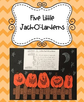 Five Little Jack-O'-Lanterns Poem and Craftivity