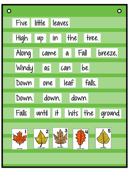 Five Little Leaves Rhyme: Pocket Charts, Books, Position Words, Math