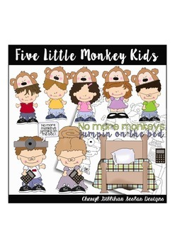 Five Little Monkey Kids Clipart Collection