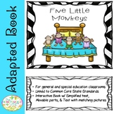 Special Education Five Little Monkeys Adapted Book