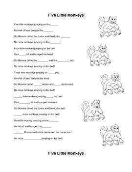 Five Little Monkeys Cloze Exercise