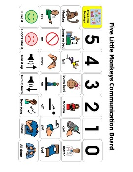 Five Little Monkeys Communication Board/ AAC