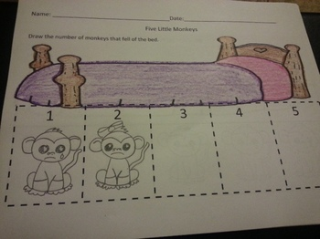 Five Little Monkeys Fell of the Bed Counting 1-5 Activities C-Scope Common core