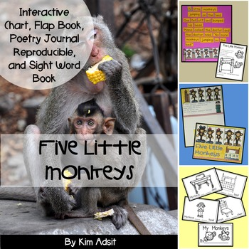 Sight Word Reader and Interactive Chart: Five Little Monkeys