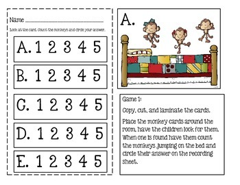Five Little Monkeys Jumping On A Bed ~ 4 Write The Room Math Games