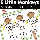 Five Little Monkeys | SPED Autism Preschool | Missing Letters Clip Cards