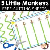 Five Little Monkeys | SPED Autism Preschool PreK | Scissor Skill Sheets