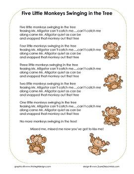 Five Little Monkeys - Song Chart