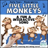 Five Little Monkeys Song (Circle Time, Puppets, Counting,
