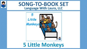 Five Little Monkeys - Song-to-Book Set [speech therapy and autism]