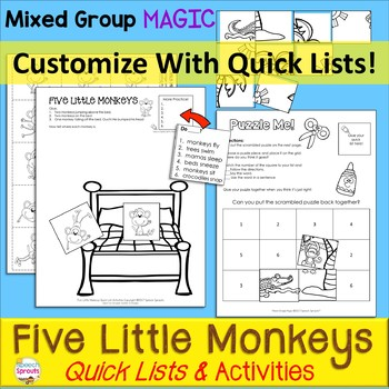 Five Little Monkeys Speech Therapy Quick List Activities