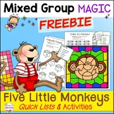 Five Little Monkeys Speech Therapy Activities with Quick Lists