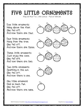 Five Little Ornaments Poem and Finger Puppets Christmas ELA Math