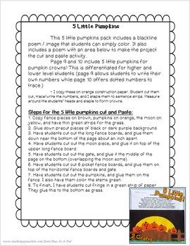 Five Little Pumpkins! Kindergarten, First Grade, Second Grade