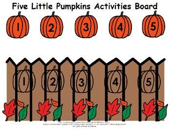 Five Little Pumpkins Activities Board by A. Kistler