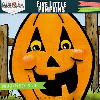 Five Little Pumpkins Clip Art