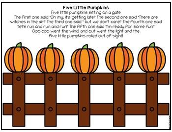 Five Little Pumpkins Cut & Paste Activity
