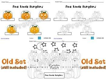 Five Little Pumpkins Finger Puppets & Coloring Worksheets