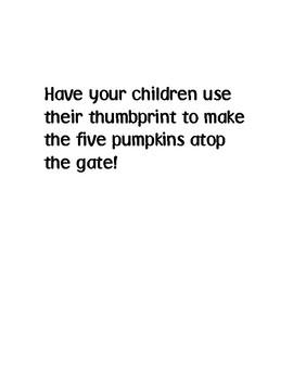 Five Little Pumpkins Fingerprint Template