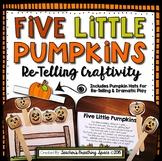 Five Little Pumpkins --- Re-Telling Craftivity with Stick Puppets & Pumpkin Hats
