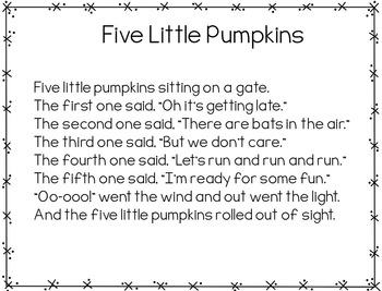 Five Little Pumpkins (Halloween Pocket Chart Activity)