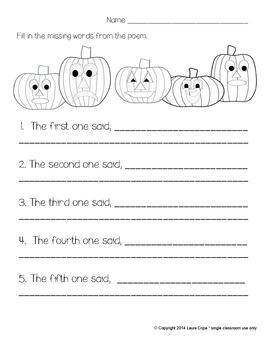 Five Little Pumpkins Learning Center Activities