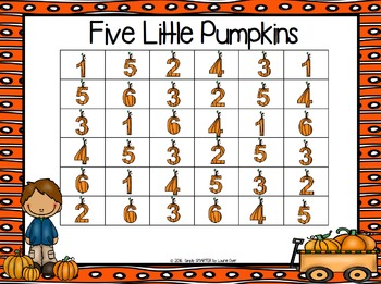 Five Little Pumpkins:  NO PREP Five in a Row Number Game