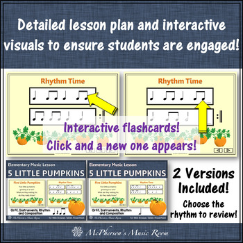 Fall Music Lesson ~ Five Little Pumpkins Orff, Rhythm, Composition & Instruments