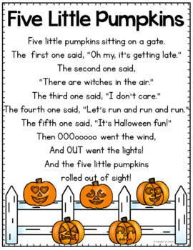 Bright image with regard to five little pumpkins printable