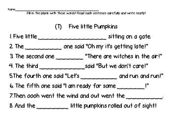 Five Little Pumpkins Poem