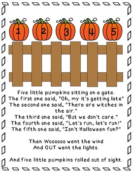 Image result for 5 little pumpkins poem